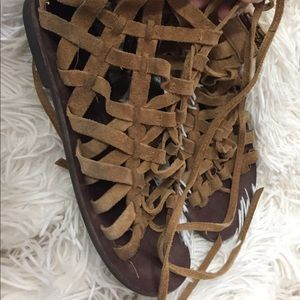 Free People lace up suede sandals size 7 GUC